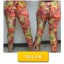 Pantalon Leggins Licras Estampado Flores Talla M Mor-10m