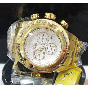 Relógio Invicta Bolt Zeus Plaque Ouro Suíço Cronógrafo 23914