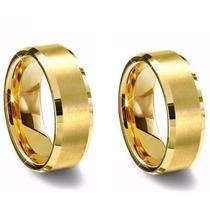Par De Alianças De Tungstenio Dourada 8mm : Frete Gratis