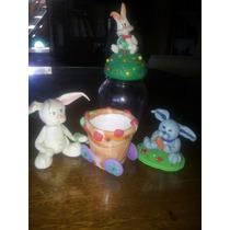 Pascuas Adornos En Porcelana Fria. Lote De 3 Conejos .