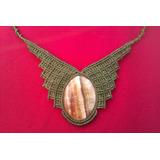 Collar Macrame Piedra, Artesanía Hecha Con Piedra Natural