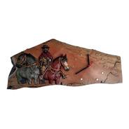 Relógio Parede Rústico Madeira Resina Cavalos