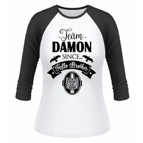 Baby Look Raglan 3/4 Vampire Diaries Team Damon Salvatore