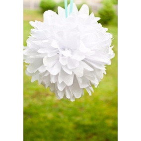 Pompones De Papel Blancos Para Fiestas, Eventos, Bodas