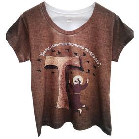 318595873d Camiseta Feminina Gospel São Francisco Baby Look Branca
