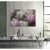 Cuadro Tulipanes Rosa Flores Gris Gotas De Rocio 40x60cm