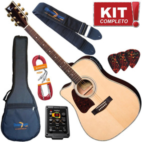 Kit Violao Eagle Ch889 Nt Lh Canhoto Natural Completo