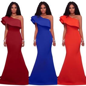 Vestido Un Hombro Sirena Vino Azul Rey Naranja Largo Moderno