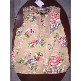 Auténtica Importada Blusa Talla L Bordada 100% Polyester