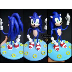Sonic Adorno Para Torta En Porcelana Fría