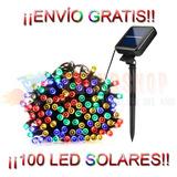 Serie Solar Navidad Recargable Sensor De Luz 12mts 100 Led