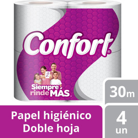 Papel Higiénico Confort 4u Doble Hoja 30m