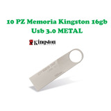 Lote/paquete 10 Memoria Kingston 16gb Usb 3.0 Metal Original