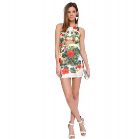 Vestido Fresco Corto Fiesta Playa Flores Cobertor Bikini S M