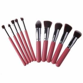 Pincéis Kabuki Maquiagem Profissional Rosa Prata Kit Com 10