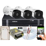 Kit 3 Câmeras Intelbras 1120 B G5 Hd 20 Metros Dvr 4 Ch 1104