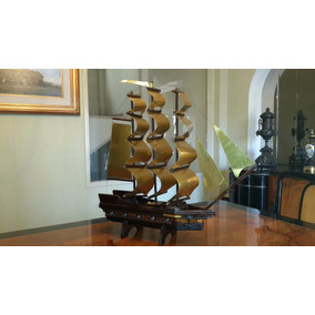 Antiguo Barco Carabela Fragata Madera Artesanal