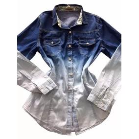 Camisa Blusa Feminina Jeans 2 Cores Degrade Preço Baixo 2773