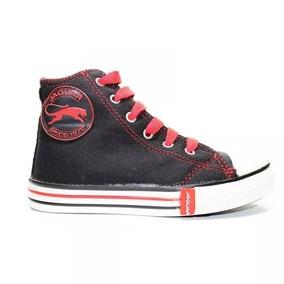 Zapatillas Jaguar Botitas Lona Negro Con Rojo Base Pegada