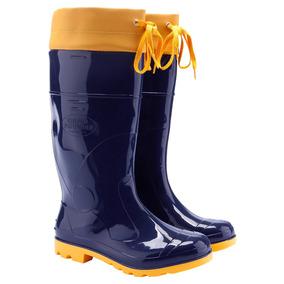 Bota Borracha Pvc Impermeável Azul/amarela C/amarra Galocha