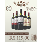 Kit Misto Sem Álcool Com 5 Garrafas De Vinho 720 Ml
