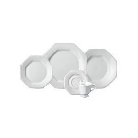 Jogo Jantar E Chá 30 Peças Prisma Branco Porcelana Schmidt