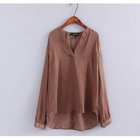 Blusa Camisa Social Feminina Seda 4cores Elegante Importada