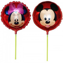 Balão Metalizado Mickey / Minnie De Mesa 21cm + Varetas