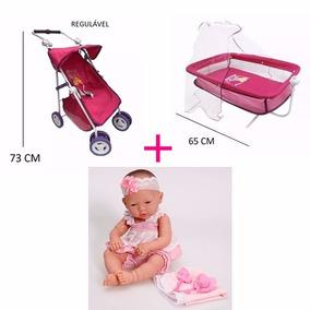 Boneca Baby Ninos + Mini Berço Balanço + Carrinho Luxo