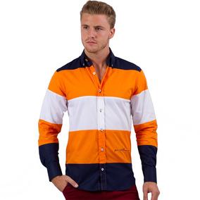 Camisa Porto Blanco Caballero Hombre Naranja El-241