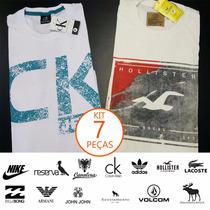 Kit 7 Camisetas Marcas Diversas (armani, Ck, Lacoste, Nike)