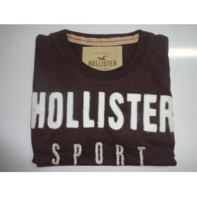 Camiseta Hollister Original Masc. Marrom - Pronta Entrega