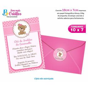 Convite Chá De Bebê - 10cm X7cm - 50 Und.