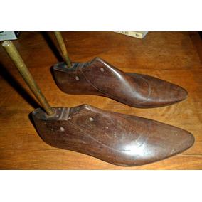 Antiguas Hormas Zapatos Madera Dura Oscura Para Lampara