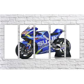 Quadro Susuki Moto Gp Motos Motocicleta Gg Decor 5 Pçs