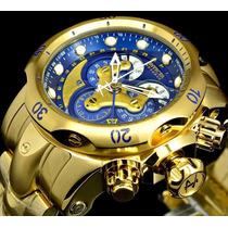 Relógio Invicta Reserve Venom Dourado Azul Gigante Original