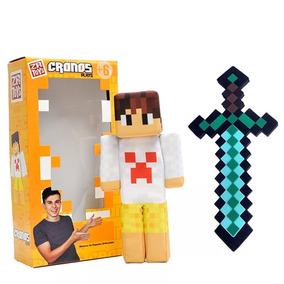 Boneco Cronos Play Youtuber Minecraft Original + Espada Eva