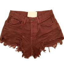 Shorts Hot Pants Jeans Cintura Alta Desfiado Com Um Botão