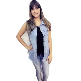1 Pç Colete Jeans Comprido E 1 Pç Vestido Longo