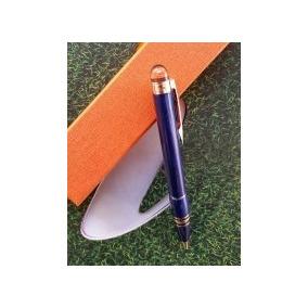 Caneta Azul Inoxidavel Luxo
