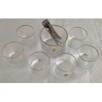 Juego De 6 Vasos De Whisky Y Hielera + Pinza Con Borde Dore