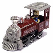 Miniatura Locomotiva Vapor Velho Oeste C Maquinista Vermelha