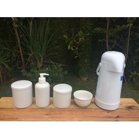 Promoção Kit Higiene Bebê Porcelana Branca Garrafa 5 Peças