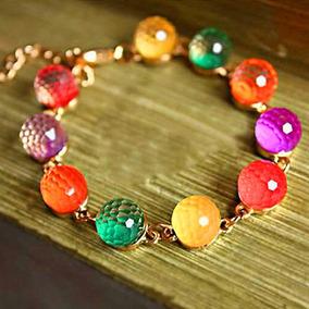 Pulseira Feminina Colorida Beads Brilho E Transparência