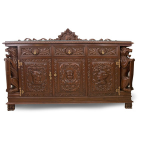 impactante buffet tallado en madera de cedro barroco espaol