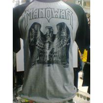 Camiseta Raglan Manowar Mesclada Cinza / Preto