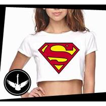 Blusa Cropped Super Man Herói Homem Filme Camisa Feminina