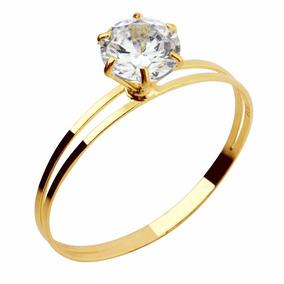 Anel Cálice Ouro 18k Com Pedra De Zirconia