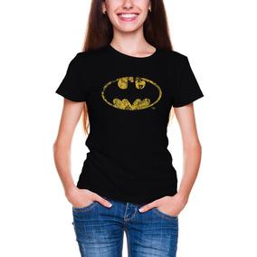 Batman Vintage Polera Mujer Logo Classic Mangacorta