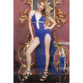 Sexy Vestido Largo De Lenceria Azul Unitalla